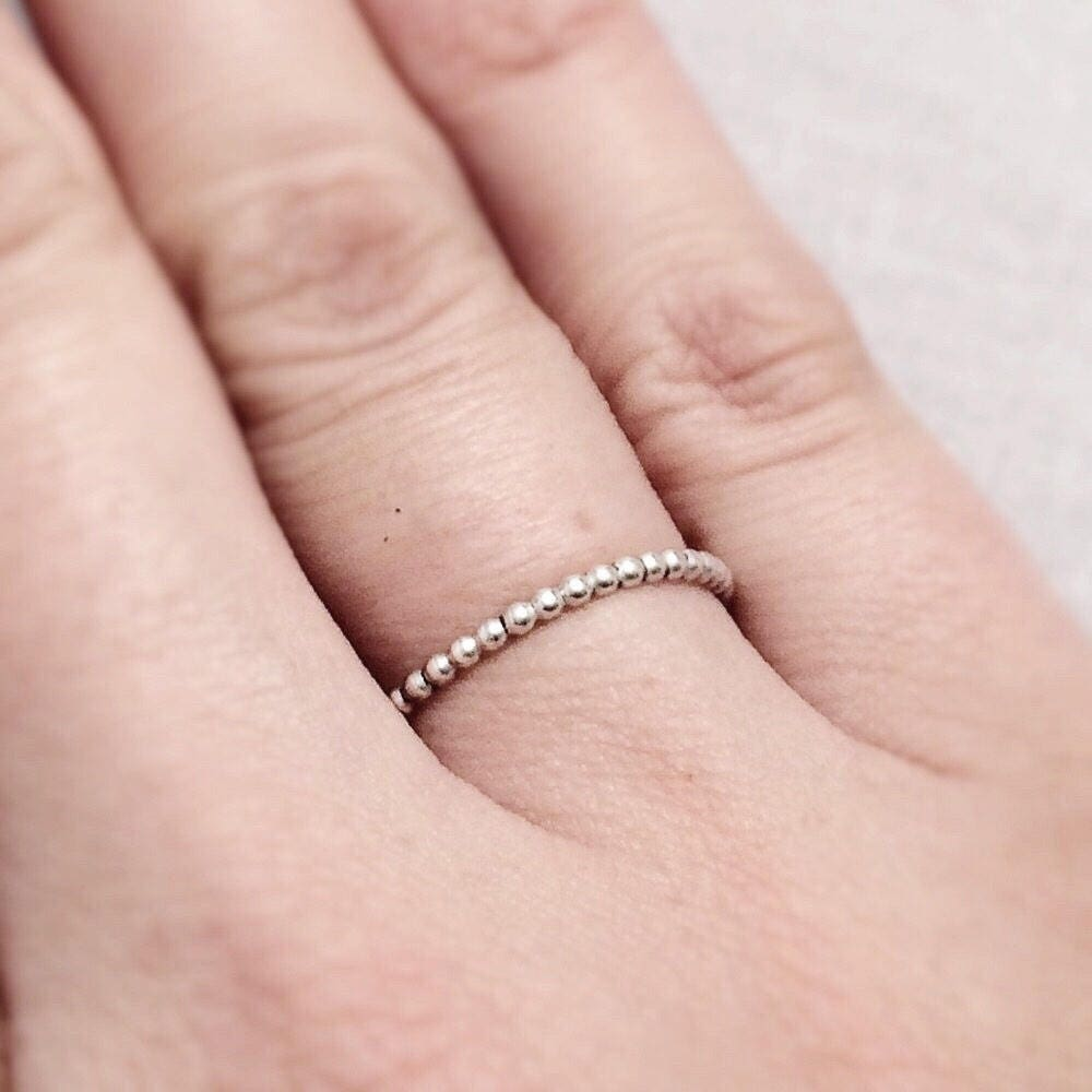 Silver Beaded Stack Ring Sterling Silver Bead Ring