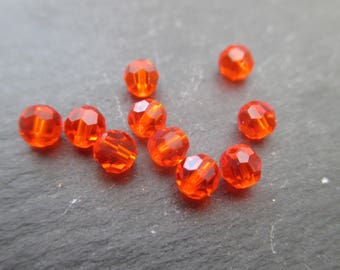 Swarovski 4 mm: 8 beads red topaz crystal beads - orange