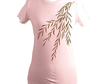 Light Pink Japanese Willow Branch T-Shirt, Screen Printed, Women, Handprinted, Floral, Silkscreened, Made in USA, Size L, Clearance