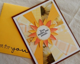 You make me smile. Handmade thinking of you card