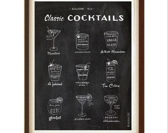 Gift for Him, Classic Cocktails Guide, Drinks Recipes, Mid Century Modern, Black and White, Illustration Art Print, Vintage Style, Man Cave