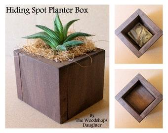 Succulent Planter with Secret Hiding Spot, Plant Pot, Hide A Key, Faux Bottom, Small Planter, Air Plant Pot, Boho Bohemian Decor, Plant Box