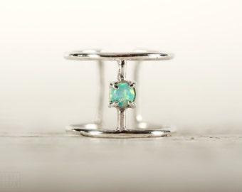 Draht Ring Türkis Opal Sterling Silber verstellbarer Ring Wrap Ring Boho Schmuck - FRI007SSS