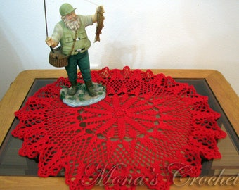 Hand Crocheted Victorian Holiday Christmas Doily for Christmas Home Decor | Christmas Decoration | Christmas Doily | Red Doily | Centerpiece