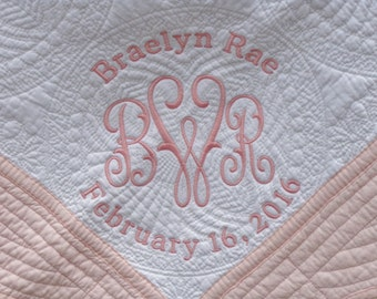 Monogrammed Baby Quilt - Pink Trim - Personalized / Embroidered Baby Blanket