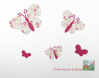 Applied fusing butterflies in liberty Eloise pink flex glittery fuchsia patch iron on fusible liberty Butterfly pattern