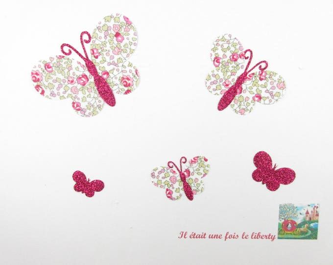Applied fusing butterflies in liberty Eloise pink flex glittery fuchsia patch iron on fusible liberty Butterfly pattern