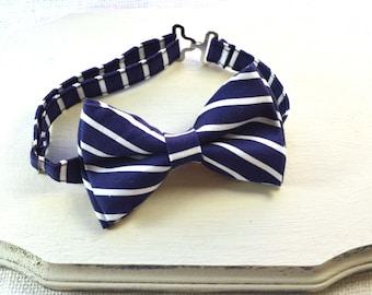 Navy and White Stripe Bow tie , boy bow tie, baby bow tie, adult bow tie, men's bow tie, nautical stripe, navy bow tie