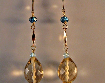 Multi Gemstone Dangle Earrings, gemstone earrings, gemstone jewelry, gold earrings, dangle earrings, amethyst earrings, drop