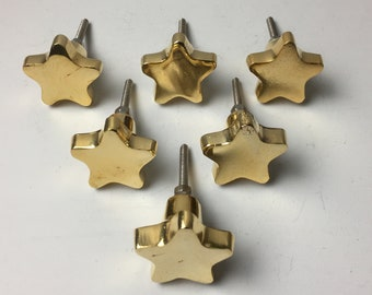 6 x GOLD CHUNKY STAR Knob - Home decor drawer pull Metal