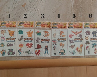 Pokemon Tattoo sheet, vintage