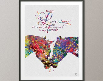 Horse Couple Kissing Love Quote Abstract Watercolor Art Print Wedding Gift Wall Decor Christmas Gift Anniversary Wall Art Decor [NO 833]