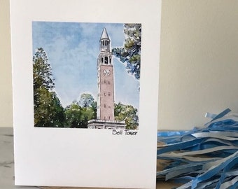 UNC CARD, UNC Clock Tower, Tarheels Cards, North Carolina cards, Set Five Cards, Gift Set Cards, Blank Greeting Card, Watercolor Card