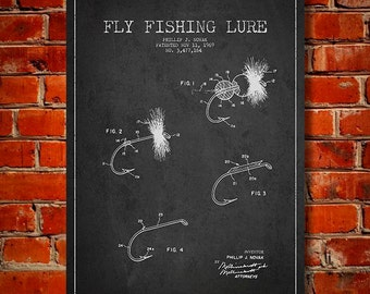1969 Fly Fishing Lure Patent, Canvas Print, Wall Art, Home Decor, Gift Idea