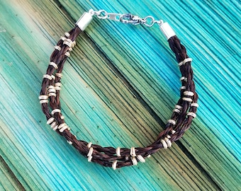 Horse Hair Bracelet with African Silver Beads - Horsehair Jewelry - Boho Chic Bohemian Style and Urban Inspired