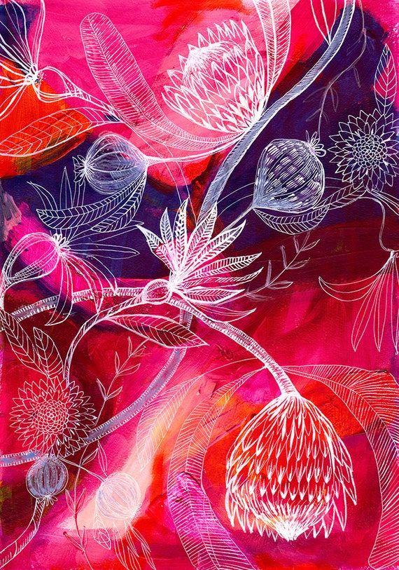 Protea Journey Wall Art Print Botanical Home Decor