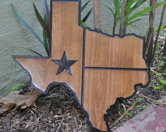 Texas Outline State Flag Wooden Wall Art Lone Star Western Decor