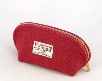 Harris tweed pink and orange washbag toiletries bag cosmetics purse