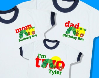 The Hungry Caterpillar Birthday Ringer Tees. Set of 3 Family Birthday Shirts. 1 Toddler and 2 Adult Sizes. [2nd, Two] (up to XL). (25110)