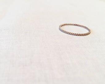 Rose Gold Twist Ring - 14k Rose Gold Fill Twisted Stacking Ring Delicate Handmade Artisan Layering Ring Pink Gold Feminine Gift