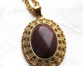 30x22mm Mahogany Jasper Cabochon in Gold Plated Filigree Pendant with Chain