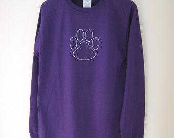 Long Sleeve T-shirt - Purple T-shirt - Rhinestone Paw Print T-shirt - Dog Lover Tshirt - Cat Lover Bling Tee - Dog Themed Gift