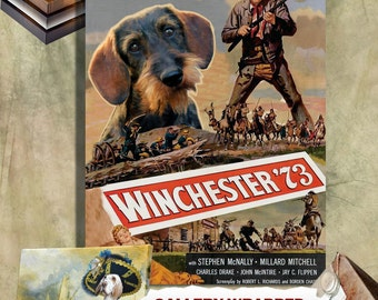 Dachshund Vintage Poster Canvas Print  - Winchester 73 Poster  Perfect DOG LOVER GIFT Gift for Her Gift for Him Home Decor