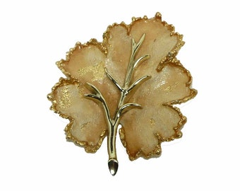 Frosted Fall Leaf Brooch - Toasted Almond and Goldtones - Designer Signed BSK Pin - Vintage Jewellery