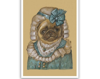 Pug Art Print - Lady Baby - Dog Lover Gifts & Dog Wall Decoration - Dog Portraits by Maria Pishvanova