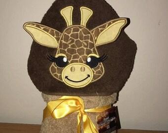 Giraffe Hooded Bath Towel with 3D Ears