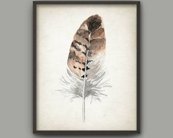 Feather Watercolor Wall Art Print, Tribal Nursery, Modern Home Decor, Bird Feather Poster, Brown Watercolour Hawk Feather Painting
