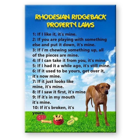 Rhodesian Ridgeback Property Laws Fridge Magnet
