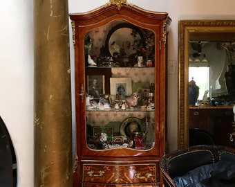 NEW PRICE Antique Tall Cabinet French Style, Display, Wood Inlay, China  Cabinet,