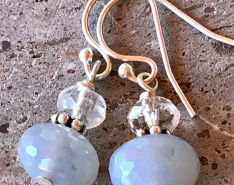 Natural Chalcedony and Quartz Gemstone Drop Earrings in Sterling Silver