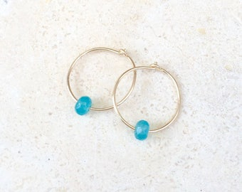 Itsy Bitsy Hoop Earring with Chalcedony