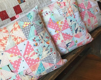 Accent Pillows / Farmhouse Pillows / Nursery Decor, Accent Pillow Pink, Quilted Throw Pillows, Baby Girl Nursery