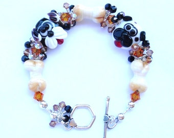 Swarovski Crystal and Lampwork Beaded Dog Bracelet   srajd  handmade dog lover  pets