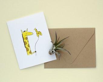 Giraffe Balloon - Blank Card, Giraffe Greeting Card, Balloon Greeting Card, Birthday Card, Funny Birthday Card, Animal Greeting Card