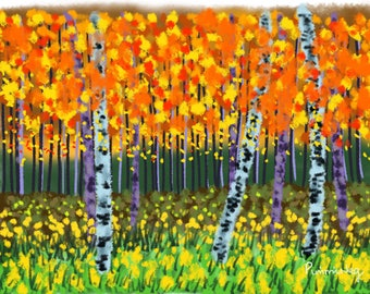 Birch Forest In Autumn Colours