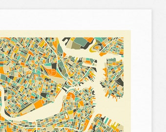 BOSTON MAP (Giclée Fine Art Print/Photo Print/Poster Print) by Jazzberry Blue (ivory version)
