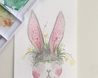 Spring Sprouts + Flowers Bunny 4x6in Original Watercolor Painting