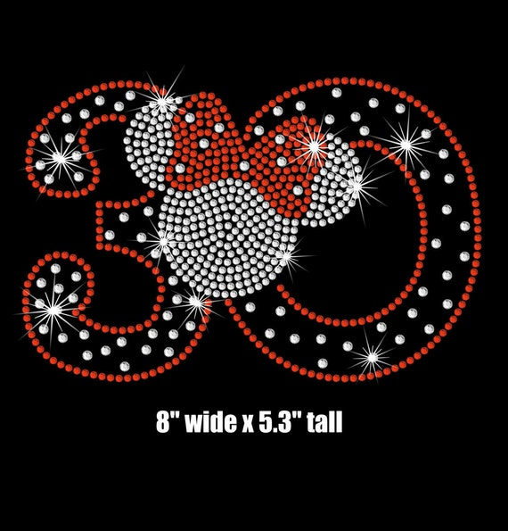 Minnie Mouse 30th Birthday iron on rhinestone transfer your color