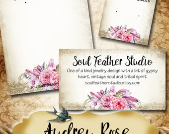 AUDREY ROSE•Custom Tags•Labels•Earring Display•Clothing Tags•Custom •Boutique Card•Tags•Custom Tags•Custom Labels