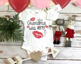 Valentine's Onesie®, Grandma was here, Grandma shirt, First Valentines, Baby Valentine Shirt, Valentine Shirts, Baby Shower Gifts, Kisses