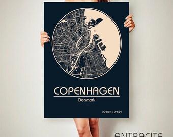 COPENHAGEN Denmark CANVAS Map Copenhagen Denmark Poster City Map Copenhagen Denmark Art Print Dayton Ohio poster Copenhagen Denmark art map