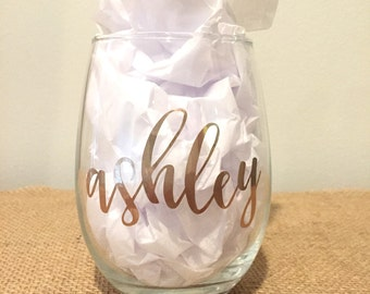 Individual - Personalized Stemless Wine Glasses with Names in Gold - Contemporary Script - Bridesmaids Glasses - Custom Wine Glass - Gold