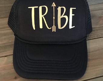 Boho Tribe Gold Arrow Trucker Hat Cap Black