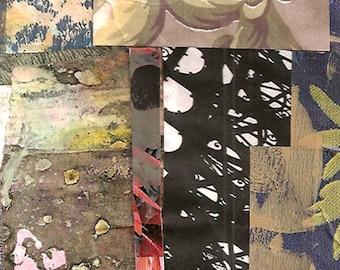 Semblable à une mémoire - Collage Original avec patiné et à la main dessinés et peints papiers 4 x 4 sur 5 x 5» support