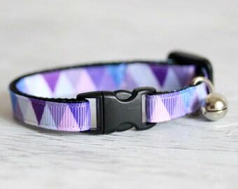 Purple Blue Cat Collar Colorful Triangle Cat Collar Geometric Cat Collar Triangle Cat Collar Lilac Collar Breakaway Buckle Collar Pet Collar
