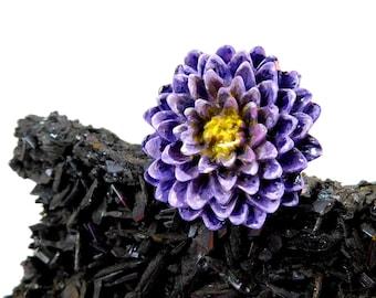 Hand Painted Purple Chrysanthemum Flower Ring